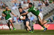 18 July 2021; Dublin goalkeeper Evan Comerford is tackled by Jordan Morris of Meath during the Leinster GAA Senior Football Championship Semi-Final match between Dublin and Meath at Croke Park in Dublin. Photo by Harry Murphy/Sportsfile