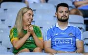 18 July 2021; Meath and Dublin supporters react as Meath score a point during the Leinster GAA Senior Football Championship Semi-Final match between Dublin and Meath at Croke Park in Dublin. Photo by Harry Murphy/Sportsfile