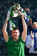 18 July 2021; Limerick captain Declan Hannon lifts the Munster Senior Hurling Championship Cup after the Munster GAA Hurling Senior Championship Final match between Limerick and Tipperary at Páirc Uí Chaoimh in Cork. Photo by Ray McManus/Sportsfile