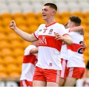 18 July 2021; Matthew Downey of Derry celebrates after the final whistle of the 2020 Electric Ireland GAA Football All-Ireland Minor Championship Final match between Derry and Kerry at Bord Na Mona O'Connor Park in Tullamore. Photo by Matt Browne/Sportsfile