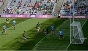 18 July 2021; Dublin goalkeeper Evan Comerford saves a shot on goal by Jordan Morris of Meath during the Leinster GAA Senior Football Championship Semi-Final match between Dublin and Meath at Croke Park in Dublin. Photo by Harry Murphy/Sportsfile