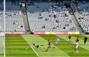 18 July 2021; Daniel Flynn of Kildare shoots to score his side's second goal despite the efforts of Westmeath goalkeeper Jason Daly during the Leinster GAA Senior Football Championship Semi-Final match between Kildare and Westmeath at Croke Park in Dublin. Photo by Eóin Noonan/Sportsfile