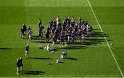 18 July 2021; Tipperary players and backroom team celebrate as team captain Declan Hannon lifts the cup after the Munster GAA Hurling Senior Championship Final match between Limerick and Tipperary at Páirc Uí Chaoimh in Cork. Photo by Daire Brennan/Sportsfile