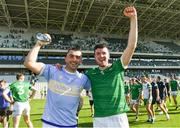 18 July 2021; Limerick players Aaron Gillane, left, and Declan Hannon after their side's victory in the Munster GAA Hurling Senior Championship Final match between Limerick and Tipperary at Páirc Uí Chaoimh in Cork. Photo by Piaras Ó Mídheach/Sportsfile
