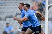 18 July 2021; Ciaran Kilkenny, left, and Brian Fenton of Dublin react after a late point during the Leinster GAA Senior Football Championship Semi-Final match between Dublin and Meath at Croke Park in Dublin. Photo by Harry Murphy/Sportsfile