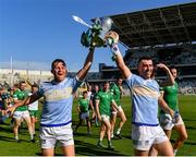 18 July 2021; Limerick players Peter Casey, left, and Aaron Gillane celebrate with the cup after the Munster GAA Hurling Senior Championship Final match between Limerick and Tipperary at Páirc Uí Chaoimh in Cork. Photo by Piaras Ó Mídheach/Sportsfile