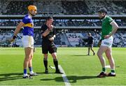 18 July 2021; Referee Paud O'Dwyer with team captains Séamus Callanan and Declan Hannon of Limerick before the Munster GAA Hurling Senior Championship Final match between Limerick and Tipperary at Páirc Uí Chaoimh in Cork. Photo by Piaras Ó Mídheach/Sportsfile