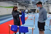 22 June 2021; Michaela Walsh and Aidan Walsh check out the boxing kit during a Tokyo 2020 Team Ireland Announcement for Boxing in the Sport Ireland Institute at the Sport Ireland Campus in Dublin.  Photo by Brendan Moran/Sportsfile