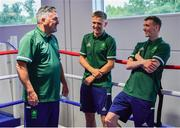 22 June 2021; Kurt Walker, centre, and Brendan Irvine with coach John Conlan during a Tokyo 2020 Team Ireland Announcement for Boxing in the Sport Ireland Institute at the Sport Ireland Campus in Dublin.  Photo by Brendan Moran/Sportsfile