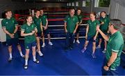 29 June 2021; High-performance director Bernard Dunne and coach John Conlan share a joe with boxers, from left, Aidan Walsh, Michaela Walsh, Aoife O'Rourke, Emmet Brennan, Kurt Walker, Kellie Harrington and Brendan Irvine during a Tokyo 2020 Team Ireland Announcement for Boxing in the Sport Ireland Institute at the Sport Ireland Campus in Dublin. Photo by Ramsey Cardy/Sportsfile
