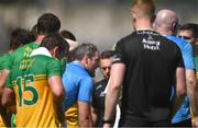 18 July 2021; Michael Murphy of Donegal chats to his team-mates during a water-break, after being sent off earlier in the game, during the Ulster GAA Football Senior Championship Semi-Final match between Donegal and Tyrone at Brewster Park in Enniskillen, Fermanagh. Photo by Ben McShane/Sportsfile