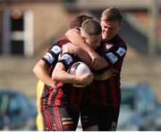 18 July 2021; Jamie Mullins of Bohemians, left, celebrates after scoring his side's first goal with team-mate Conor Levingston during the SSE Airtricity League Premier Division match between Bohemians and Longford Town at Dalymount Park in Dublin. Photo by Michael P Ryan/Sportsfile