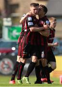 18 July 2021; Jamie Mullins of Bohemians celebrates after scoring his side's first goal with team-mate Keith Buckley during the SSE Airtricity League Premier Division match between Bohemians and Longford Town at Dalymount Park in Dublin. Photo by Michael P Ryan/Sportsfile