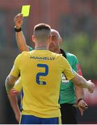 18 July 2021; Shane Elworthy of Longford Town receives a yellow card from referee Neil Doyle during the SSE Airtricity League Premier Division match between Bohemians and Longford Town at Dalymount Park in Dublin. Photo by Michael P Ryan/Sportsfile
