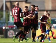 18 July 2021; Jamie Mullins of Bohemians, centre, celebrates after scoring his side's first goal during the SSE Airtricity League Premier Division match between Bohemians and Longford Town at Dalymount Park in Dublin. Photo by Michael P Ryan/Sportsfile