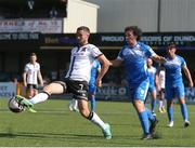 17 July 2021; Michael Duffy of Dundalk in action against Barry McNamee of Finn Harps during the SSE Airtricity League Premier Division match between Dundalk and Finn Harps at Oriel Park in Dundalk, Louth. Photo by Michael P Ryan/Sportsfile