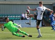17 July 2021; Daniel Kelly of Dundalk in action against Mark McGinley of Finn Harps during the SSE Airtricity League Premier Division match between Dundalk and Finn Harps at Oriel Park in Dundalk, Louth. Photo by Michael P Ryan/Sportsfile