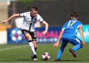 17 July 2021; Daniel Kelly of Dundalk in action against Dan Hawkins of Finn Harps during the SSE Airtricity League Premier Division match between Dundalk and Finn Harps at Oriel Park in Dundalk, Louth. Photo by Michael P Ryan/Sportsfile