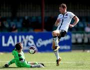 17 July 2021; Mark McGinley of Finn Harps makes a save from David McMillan of Dundalk during the SSE Airtricity League Premier Division match between Dundalk and Finn Harps at Oriel Park in Dundalk, Louth. Photo by Michael P Ryan/Sportsfile