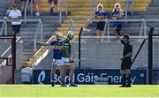 18 July 2021; Aaron Gillane of Limerick is shown the yellow card by Paud O'Dwyer during the Munster GAA Hurling Senior Championship Final match between Limerick and Tipperary at Páirc Uí Chaoimh in Cork. Photo by Piaras Ó Mídheach/Sportsfile