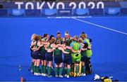 19 July 2021; The Ireland team gather for a team talk after a friendly match between Ireland and Argentina at the Oi Hockey Stadium ahead of the start of the 2020 Tokyo Summer Olympic Games in Tokyo, Japan. Photo by Brendan Moran/Sportsfile