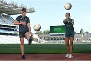 20 July 2021; John West Féile Ambassador and Armagh Footballer Aimee Mackin, right, and Whitehall Colmcille's PJ Tolster in attendance at the launch of John West Féile, 2021 at Croke Park in Dublin. The 2021 John West Féile na nGael hurling and camogie events will take place across individual counties on August 21, whilst The Féile na nÓg football events will take place on August 28. Under-15 teams will compete for the opportunity to play at Croke Park and Semple Stadium. Photo by Sam Barnes/Sportsfile