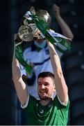 18 July 2021; Limerick captain Declan Hannon lifts the Munster Senior Hurling Championship Cup after the Munster GAA Hurling Senior Championship Final match between Limerick and Tipperary at Páirc Uí Chaoimh in Cork. Photo by Piaras Ó Mídheach/Sportsfile