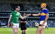 18 July 2021; Limerick captain Declan Hannon and Tipperary captain Séamus Callanan bump fists before the Munster GAA Hurling Senior Championship Final match between Limerick and Tipperary at Páirc Uí Chaoimh in Cork. Photo by Piaras Ó Mídheach/Sportsfile