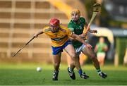 19 July 2021; Mike Gough of Clare in action against Adam English of Limerick during the Munster GAA Hurling U20 Championship semi-final match between Limerick and Clare at the LIT Gaelic Grounds in Limerick. Photo by Ben McShane/Sportsfile