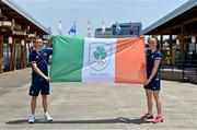 20 July 2021; Boxers Kellie Harrington and Brendan Irvine, who have been announced as Team Ireland flagbearers for the Opening Ceremony on Friday, after a media conference at the Olympic Village during the 2020 Tokyo Summer Olympic Games in Tokyo, Japan. Photo by Brendan Moran/Sportsfile