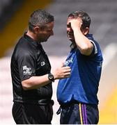 17 July 2021; Referee Fergal Horgan in conversation with Wexford manager Davy Fitzgerald before the GAA Hurling All-Ireland Senior Championship Round 1 match between Clare and Wexford at Semple Stadium in Thurles, Tipperary. Photo by Piaras Ó Mídheach/Sportsfile