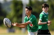 20 July 2021; Cathal O'Leary, age 11, in action during the Bank of Ireland Leinster Rugby Summer Camp at Balbriggan RFC in Dublin. Photo by Matt Browne/Sportsfile