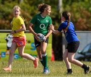 20 July 2021; Aoibhinn Ferguson, age 12, in action during the Bank of Ireland Leinster Rugby Summer Camp at Balbriggan RFC in Dublin. Photo by Matt Browne/Sportsfile