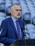 20 July 2021; Uachtarán Chumann Lúthchleas Gael Larry McCarthy speaking during the celebration of Eid Al-Adha at Croke Park in Dublin. Photo by Ray McManus/Sportsfile