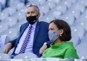 20 July 2021; The Leader of the Opposition in Dáil Éireann Mary Lou McDonald, TD, with Uachtarán Chumann Lúthchleas Gael Larry McCarthy, to her right, during the celebration of Eid Al-Adha at Croke Park in Dublin. Photo by Ray McManus/Sportsfile