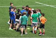 20 July 2021; Leinster rugby coach Hannah Tyrrell issues instructions at the Bank of Ireland Leinster Rugby Summer Camp at Energia Park in Dublin. Photo by Daire Brennan/Sportsfile