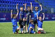 20 July 2021; Participants, back row, left to right, Patrick Keane, Billy Kavanagh, Ben Murphy, front row, left to right, Lochlann O'Herlihy, Luke Jackson, Ben McLoughlin, and Sofia McLoughlin, at the Bank of Ireland Leinster Rugby Summer Camp at Energia Park in Dublin. Photo by Daire Brennan/Sportsfile