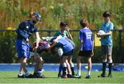 20 July 2021; Leinster rugby coach Juliette Shortt gives instructions to participants at the Bank of Ireland Leinster Rugby Summer Camp at Energia Park in Dublin. Photo by Daire Brennan/Sportsfile