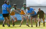20 July 2021; Darragh Power of Dublin in action against Luke Egan, right, and Padraic Watkins of Offaly during the Leinster GAA Hurling U20 Championship semi-final match between Dublin and Offaly at Parnell Park in Dublin. Photo by Daire Brennan/Sportsfile
