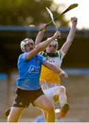 20 July 2021; Conor Hardiman of Offaly in action against Pádhraic Linehan of Dublin during the Leinster GAA Hurling U20 Championship semi-final match between Dublin and Offaly at Parnell Park in Dublin. Photo by Daire Brennan/Sportsfile