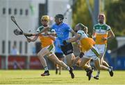 20 July 2021; Donal Leavy of Dublin in action against Cian Burke, left, and Jack Screeney of Offaly during the Leinster GAA Hurling U20 Championship semi-final match between Dublin and Offaly at Parnell Park in Dublin. Photo by Daire Brennan/Sportsfile