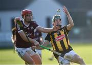 20 July 2021; Ian Byrne of Kilkenny in action against Sean Neary of Galway during the Leinster GAA Hurling U20 Championship semi-final match between Kilkenny and Galway at Bord Na Mona O'Connor Park in Tullamore, Offaly. Photo by David Fitzgerald/Sportsfile