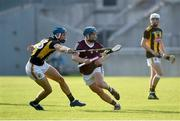 20 July 2021; Jason O'Donoghue of Galway in action against Paul Cody of Kilkenny during the Leinster GAA Hurling U20 Championship semi-final match between Kilkenny and Galway at Bord Na Mona O'Connor Park in Tullamore, Offaly. Photo by David Fitzgerald/Sportsfile