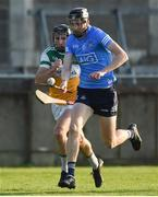 20 July 2021; Ciarán Foley of Dublin in action against Peter Cleary of Offaly during the Leinster GAA Hurling U20 Championship semi-final match between Dublin and Offaly at Parnell Park in Dublin. Photo by Daire Brennan/Sportsfile