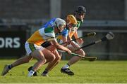 20 July 2021; Liam Dunne of Dublin in action against Dara Maher, left, and Padraic Watkins of Offaly during the Leinster GAA Hurling U20 Championship semi-final match between Dublin and Offaly at Parnell Park in Dublin. Photo by Daire Brennan/Sportsfile