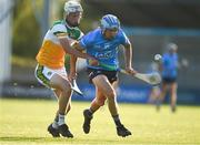 20 July 2021; Dara Purcell of Dublin in action against Dara Maher of Offaly during the Leinster GAA Hurling U20 Championship semi-final match between Dublin and Offaly at Parnell Park in Dublin. Photo by Daire Brennan/Sportsfile