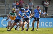 20 July 2021; Brian Sheehy of Dublin in action against Cian Burke of Offaly during the Leinster GAA Hurling U20 Championship semi-final match between Dublin and Offaly at Parnell Park in Dublin. Photo by Daire Brennan/Sportsfile