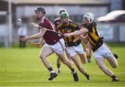 20 July 2021; Diarmuid Kilcommins of Galway in action against Timmy Clifford of Kilkenny during the Leinster GAA Hurling U20 Championship semi-final match between Kilkenny and Galway at Bord Na Mona O'Connor Park in Tullamore, Offaly. Photo by David Fitzgerald/Sportsfile
