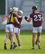 20 July 2021; Timmy Clifford of Kilkenny and Sean McDonagh of Galway tussle during the Leinster GAA Hurling U20 Championship semi-final match between Kilkenny and Galway at Bord Na Mona O'Connor Park in Tullamore, Offaly. Photo by David Fitzgerald/Sportsfile