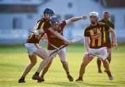 20 July 2021; Niall Collins of Galway in action against Cathal Beirne of Kilkenny during the Leinster GAA Hurling U20 Championship semi-final match between Kilkenny and Galway at Bord Na Mona O'Connor Park in Tullamore, Offaly. Photo by David Fitzgerald/Sportsfile